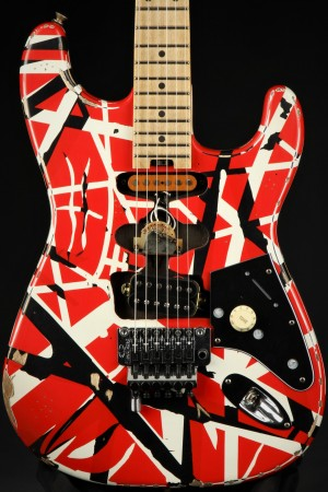 EVH Striped Series Frankie - Red with Black Stripes Relic