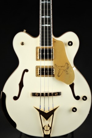 Gretsch G6136B-TP Tom Petersson Signature Falcon 4-String Bass with Cadillac Tailpiece, Rumble'Tron Pickup - Aged White Lacquer